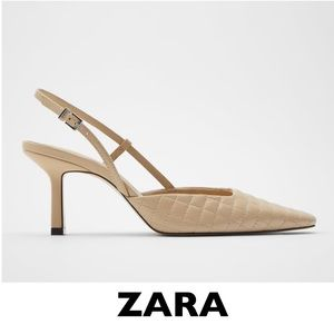 ZARA Quilted Slingback Leather Heels EUR 38 US 7.5